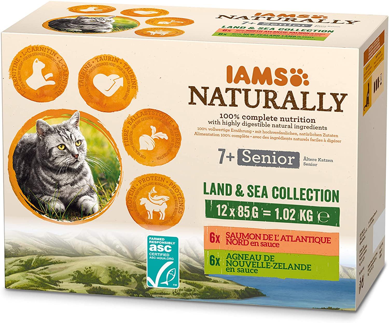 IAMS Naturally - Sachets pour chat Senior Terr  Mer  12 x 85g