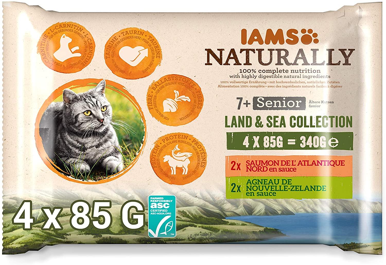 Sachets IAMS Naturally  pour chat Senior - Saumon et Agneau - 4*85g
