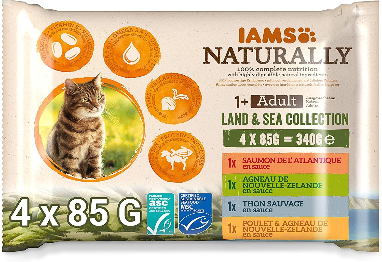 Sachets IAMS Naturally - Terre et Mer - 4 x 85g