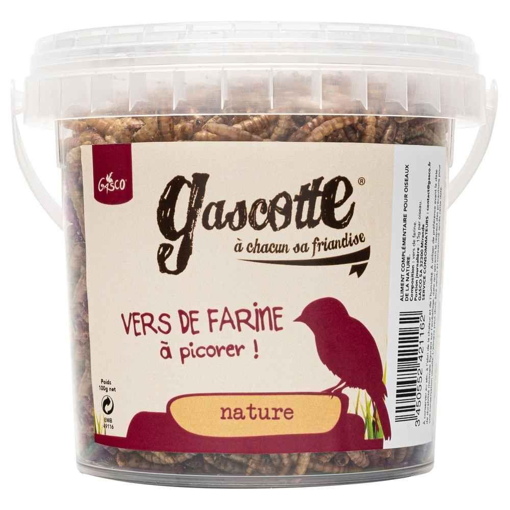 Gasco - Vers de Farine Gascotte pour Oiseaux des Jardins - 100g