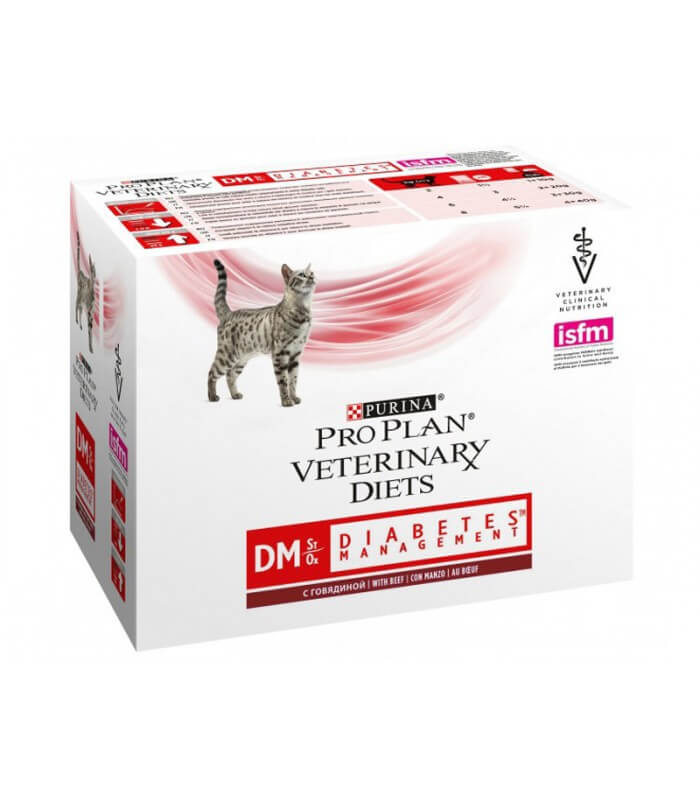 PURINA Pro Plan - Veterinary Diets - Chat DM St/Ox Diabetes -Boeuf - Sachets 10*85gr