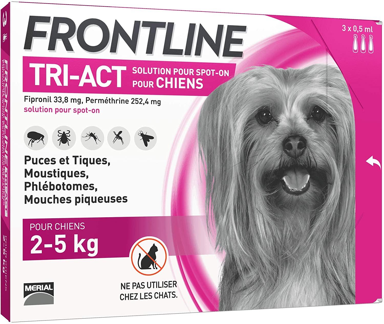 FRONTLINE TRI-ACT Chien - Anti-puces et anti-tiques pour chien - 3 pipettes