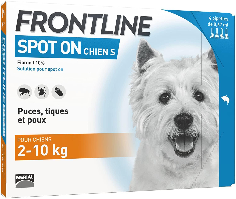 FRONTLINE Spot-on Chien - Antiparasitaire pour chien - 4 pipettes
