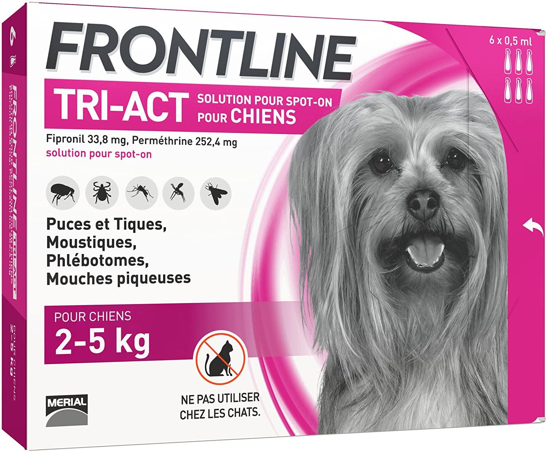 FRONTLINE TRI-ACT Chien - Anti-puces et anti-tiques pour chien - 6 pipettes