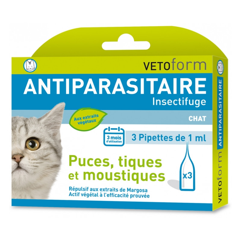 Vetoform - Antiparasitaire Insectifuge Chat - 3 Pipettes