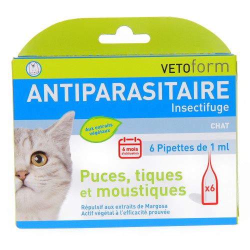 Vetoform Antiparasitaire chat - 6 pipettes