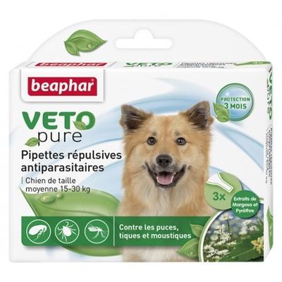 Pipettes répulsives VETOpure antiparasitaires pour chien moyen (15-30kg)