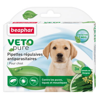 Pipettes répulsives VETOpure antiparasitaires chiot