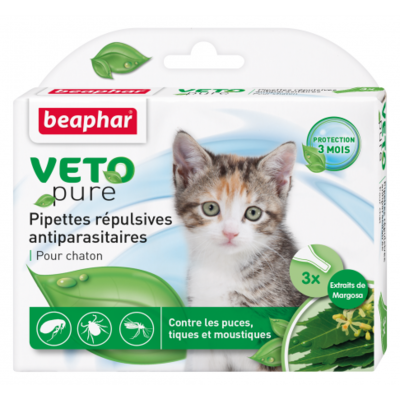 Pipettes répulsives VETOpure antiparasitaires chaton