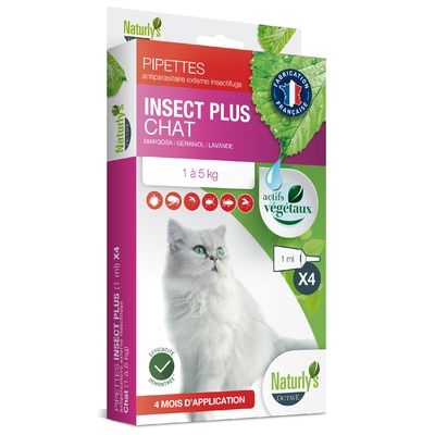 Naturly's Octave  - 4 Pipettes Insect Plus - Chat