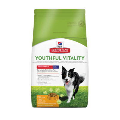 Hills Science Plan -Chien Adult-7+ - Youthful Vitality  Medium breed - Poulet et riz