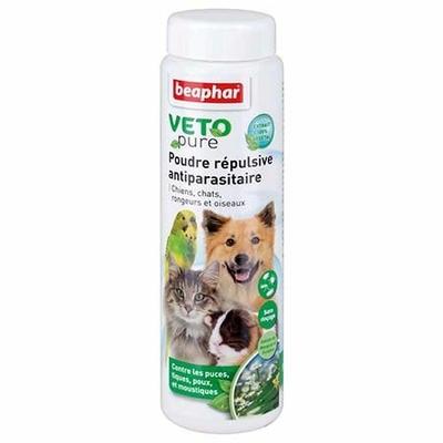Poudre VETOPure répulsive antiparasitaire pour chien, chat, oiseau et rongeur