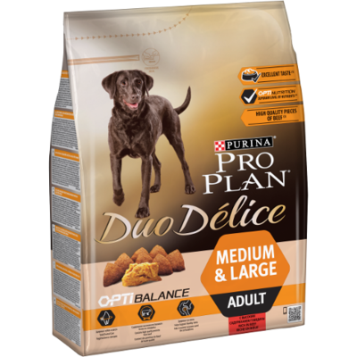 Purina Duo Délice - Adult Medium & Large -Boeuf - 10 kg