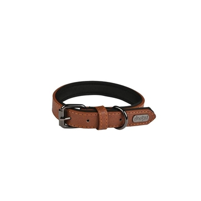 Collier Doogy - simili basics marron