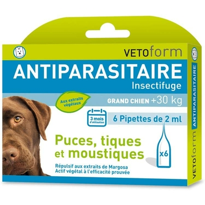 Vetoform Antiparasitaire Insectifuge Grand Chien 6 Pipettes