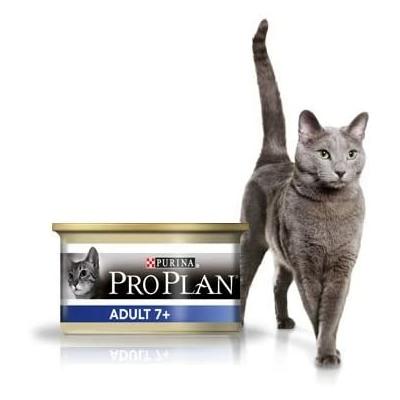 Purina ProPlan Adult 7+ pour Chat Adult au Thon - 18x85g + 6 boîtes gratuites