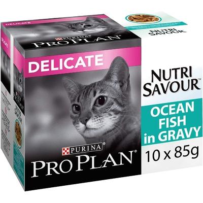 Purina ProPlan Sachets Nutrisavour Delicate au Poisson chat adulte - 10x85g - Lot de 4
