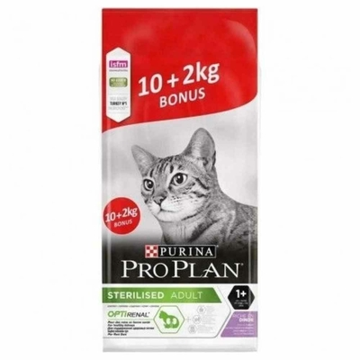 Croquettes Purina Proplan Chat Adulte Sterilised Optirenal Dinde 10kg + 2kg Offert