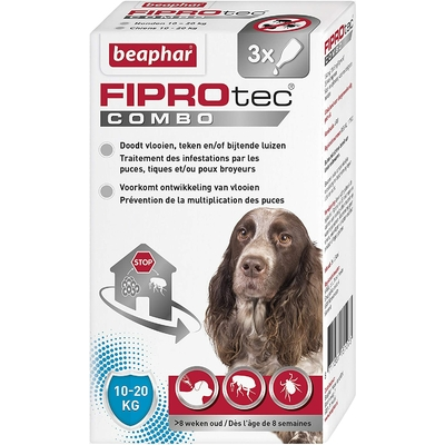 Beaphar - FIPROtec - pipettes antiparasitaires - chien moyen (10-20kg)