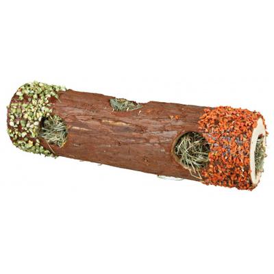 TRIXIE - Tube tunnel en bois d'écorce avec foin