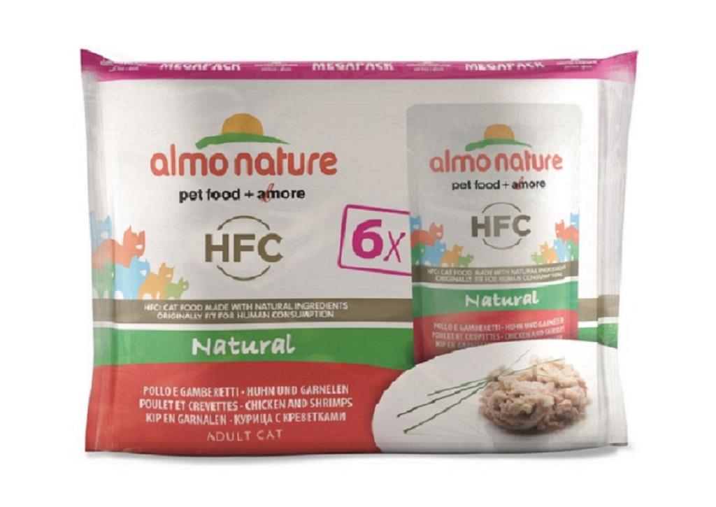 Almo nature HFC Mega Pack - Pâtée en Pochon - Poulet et crevettes  pour Chat - 6x55g noszanimos