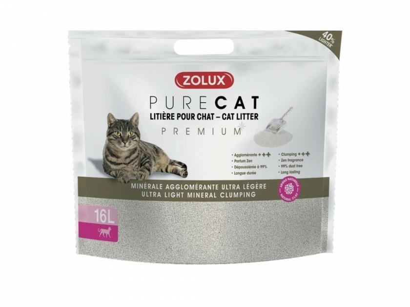 zolux litiere pure cat agglomérante premium ultre legere chat 8L