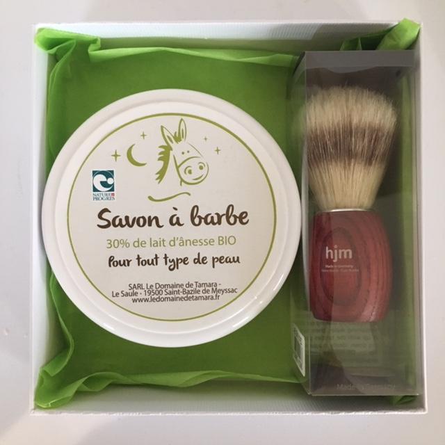Coffret Homme - Blaireau frêne teinté, soie naturelle + Savon à barbe