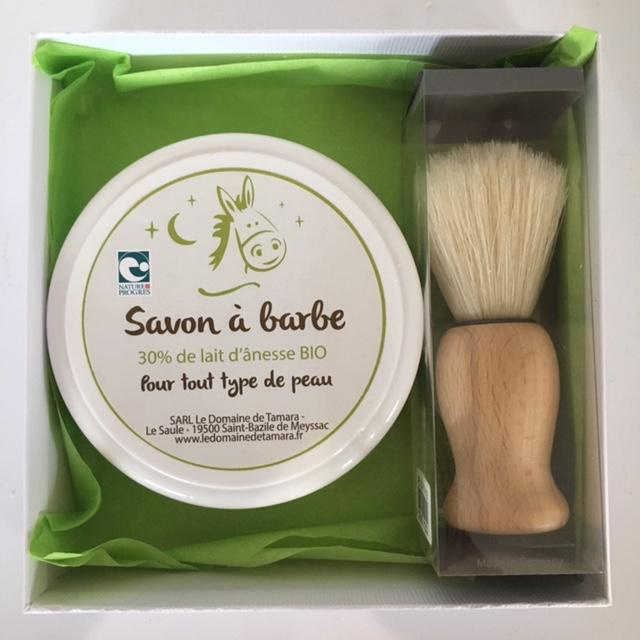 Coffret Homme - Blaireau Pin huilé, soie naturelle + Savon à barbe