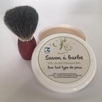 Blaireau frêne teinté, blaireau véritable + Savon à barbe