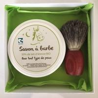 Coffret Homme - Blaireau frêne teinté, blaireau véritable + Savon à barbe