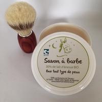 Blaireau frêne teinté, soie naturelle + Savon à barbe