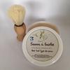 Blaireau pin huilé, soie naturelle + Savon à barbe
