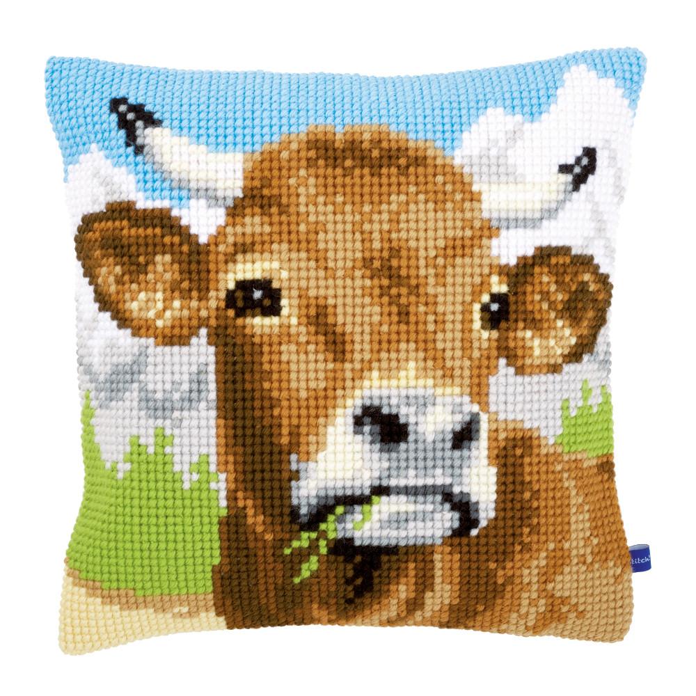 Coussin Broder Vache Dans Les Alpes Vervaco Pn 0148000