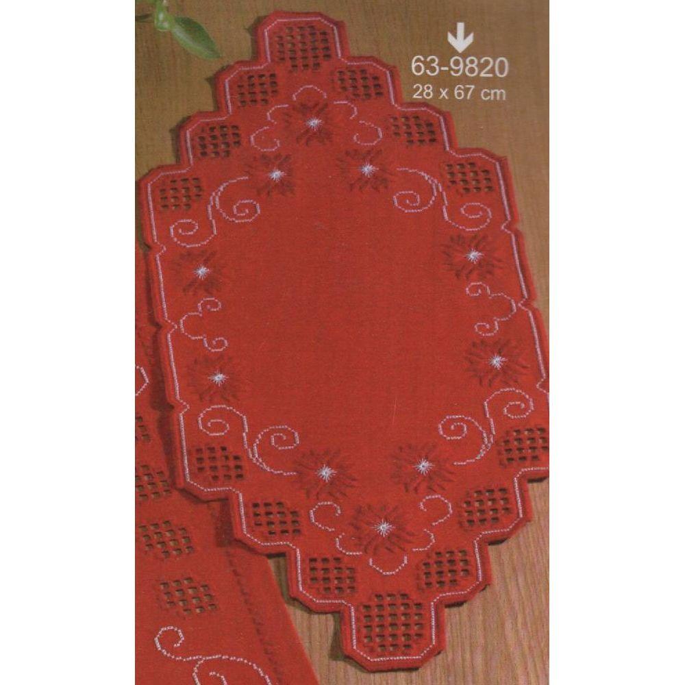 Hardanger  Napperon  à broder  rouge  63-9820  Permin