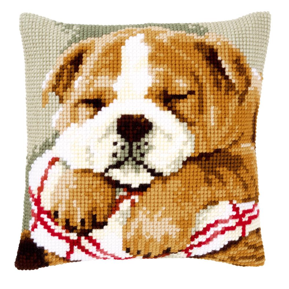 coussin point de croix chien bouledogue dormant vervaco pn 0146577 coussins par marques. Black Bedroom Furniture Sets. Home Design Ideas