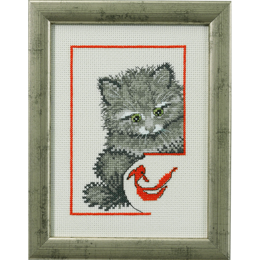 Chaton et poisson rouge permin 92 0142 broderie point for Achat poisson rouge 92