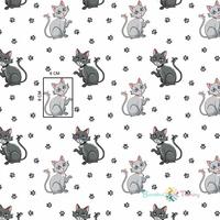 Tissu Chat avec empreintes de pattes  00023