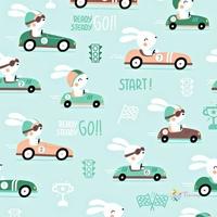 Tissu  Lapins en voiture de course  00033