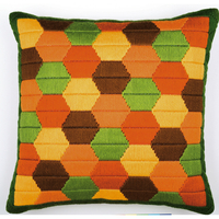 Coussin point lancé Hexagones colorés - Vervaco PN-0010869