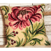 Coussin Point de Croix Rose Sauvage - Collection d Art - Code 5009
