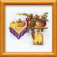 Etagère aux potirons - Riolis 994 - Kit broderie point de croix en vente sur www.la-brodeuse.com