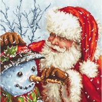 Père Noël et bonhomme de neige  919 Letistitch  Kit point de croix