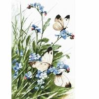Papillons et fleurs bleues  939 Letistitch  Kit point de croix