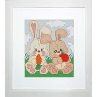 Les lapinous au champ Kit broderie Luca-S B195 en vente sur www.la-brodeuse.com