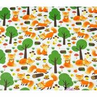 Tissu  Renards dans la forêt  00043