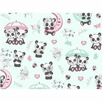 Tissu  Pandas avec parapluie  00045