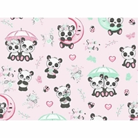 Tissu  Pandas avec parapluie  00046