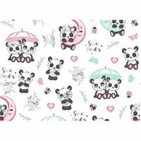Tissu  Pandas avec parapluie  00047