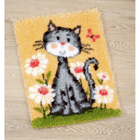 Chat dans un champ de fleurs - Tapis au point noué - Vervaco PN-0147934