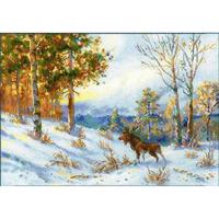 Elk dans la forêt l hiver - Riolis 1528
